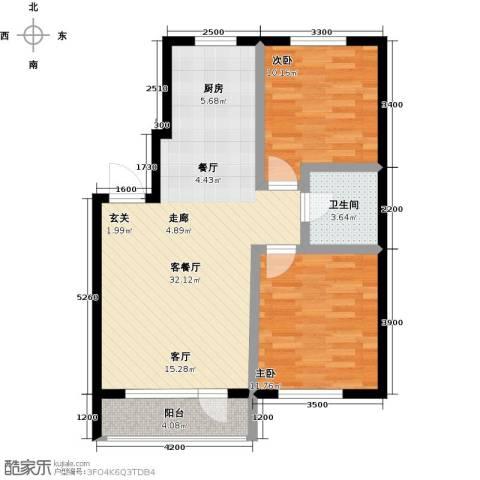 元基首府2室1厅1卫0厨88.00㎡户型图