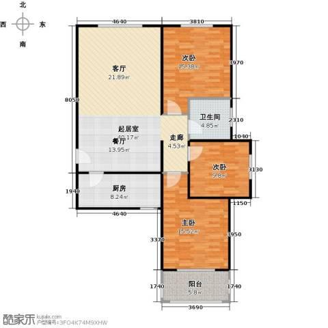 侯河铭品尚江南3室0厅1卫1厨107.00㎡户型图