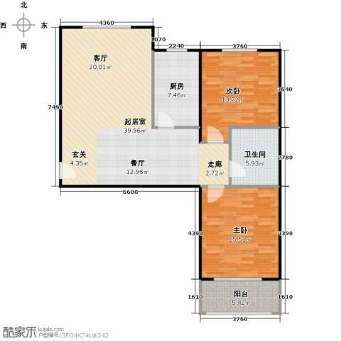 侯河铭品尚江南2室0厅1卫1厨93.00㎡户型图