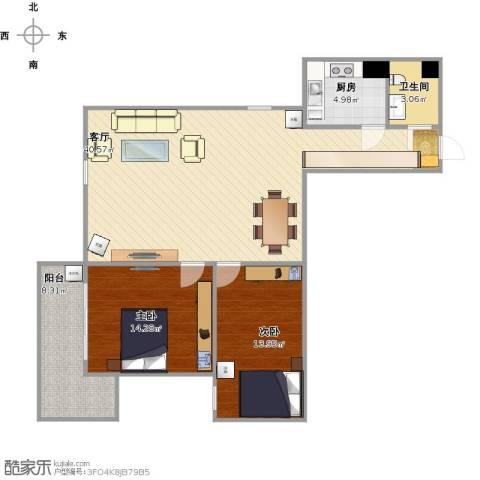 福安公寓AB栋2室1厅1卫1厨115.00㎡户型图