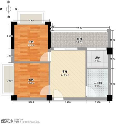 向日葵公寓2室1厅1卫1厨58.00㎡户型图