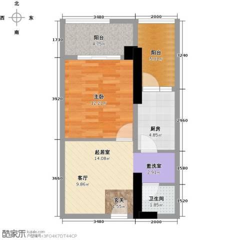 湘运大厦・曼哈顿1室0厅1卫1厨64.00㎡户型图