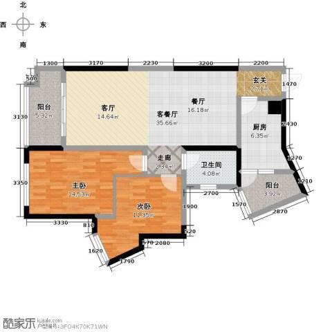 彰泰峰誉2室1厅1卫1厨93.64㎡户型图