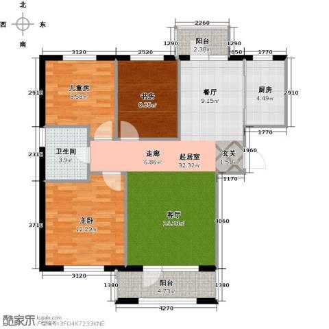 领秀蓝珀湖3室0厅1卫1厨98.00㎡户型图