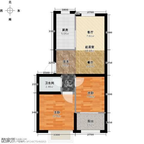 博维水映华廷2室0厅1卫1厨68.00㎡户型图