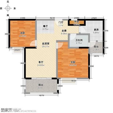 君华硅谷2室0厅1卫1厨108.00㎡户型图