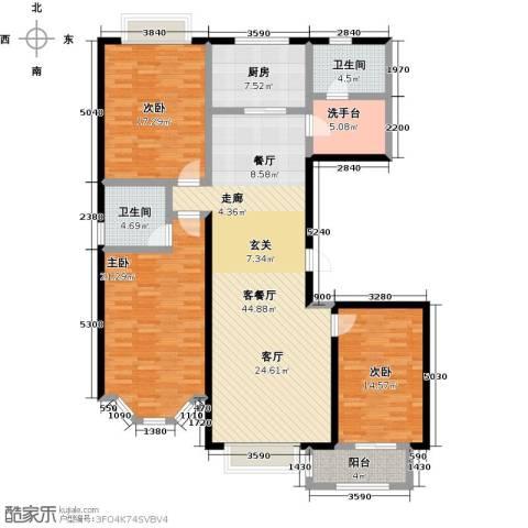 裕华铭珠3室1厅2卫1厨139.00㎡户型图