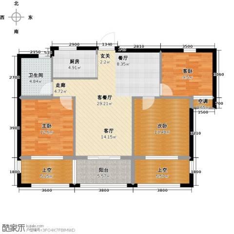 云峰苑3室1厅1卫1厨103.67㎡户型图