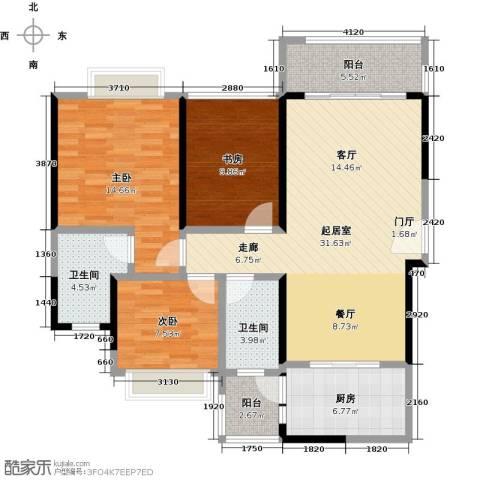 君华硅谷3室0厅2卫1厨99.00㎡户型图