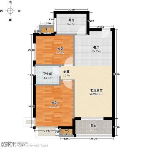 新长江香榭琴台四期墨园2室0厅1卫1厨91.00㎡户型图
