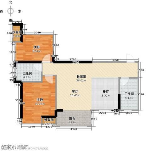 中骏蓝湾香郡2室0厅2卫0厨80.00㎡户型图