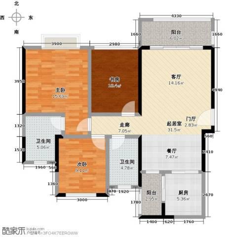 君华硅谷3室0厅2卫1厨103.00㎡户型图
