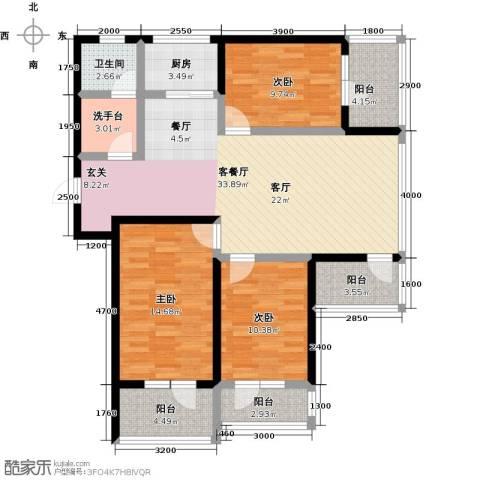 恒景・溪山壹�3室1厅1卫1厨136.00㎡户型图