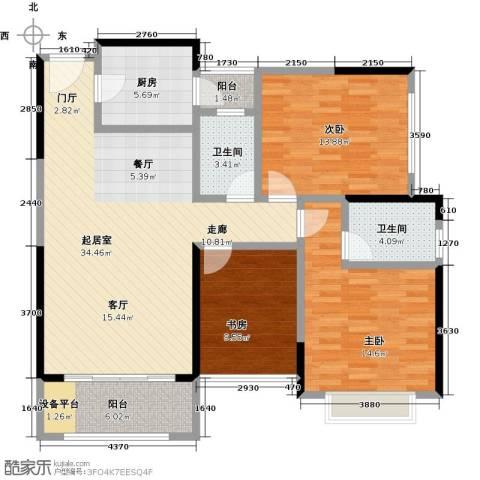 君华硅谷3室0厅2卫1厨106.00㎡户型图