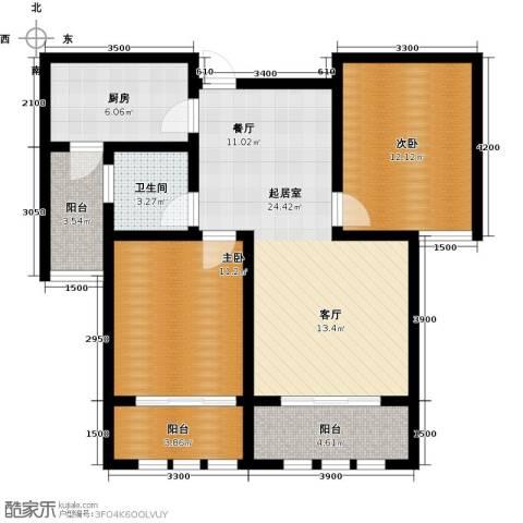 凤凰水城2室0厅1卫1厨92.00㎡户型图