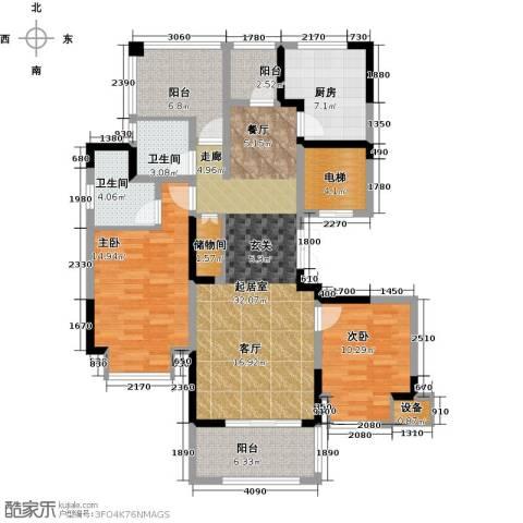 中旅狮山名门2室0厅2卫1厨110.00㎡户型图