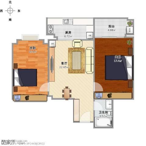 紫郡2室1厅1卫1厨95.00㎡户型图