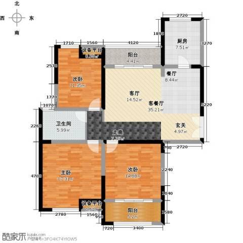 金海名园3室1厅1卫1厨118.00㎡户型图