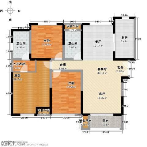金海名园3室1厅2卫1厨129.00㎡户型图