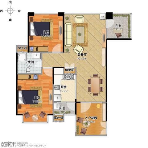 奥克斯广场2室1厅1卫1厨116.00㎡户型图