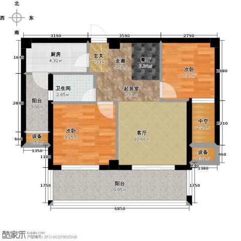 莱茵国际2室0厅1卫1厨88.00㎡户型图