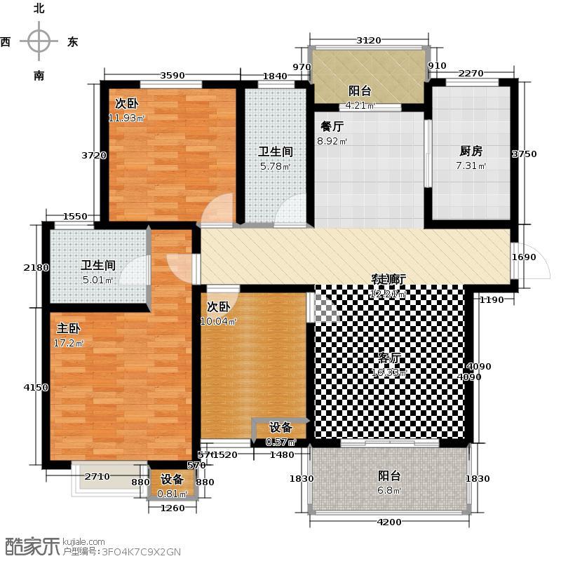 城置国际花园城户型3室1厅2卫1厨