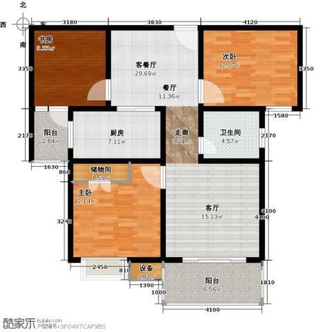城置国际花园城3室1厅1卫1厨124.00㎡户型图