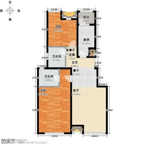 意林小镇2室1厅2卫1厨94.36㎡户型图