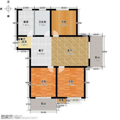 城置国际花园城3室1厅1卫1厨144.00㎡户型图