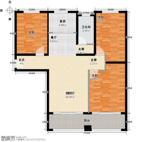 天泰华府3室1厅1卫1厨127.00㎡户型图
