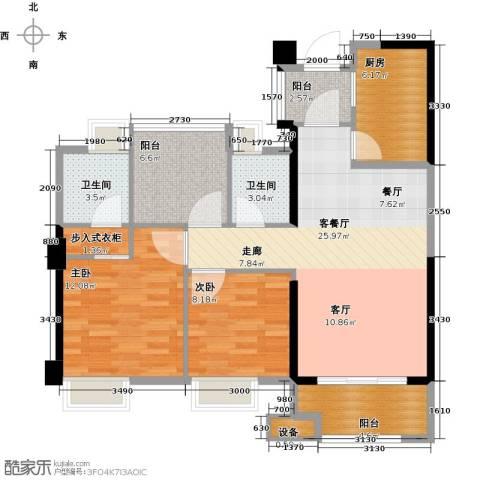 正荣・财富中心2室1厅2卫1厨88.00㎡户型图