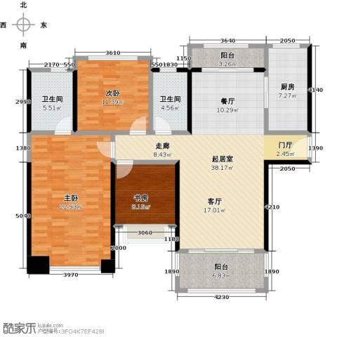 君华硅谷3室0厅2卫1厨122.00㎡户型图
