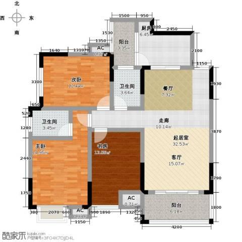 梓湖东城3室0厅2卫1厨141.00㎡户型图