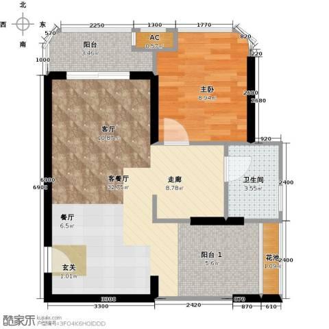 三亚・一山湖1室1厅1卫0厨61.00㎡户型图