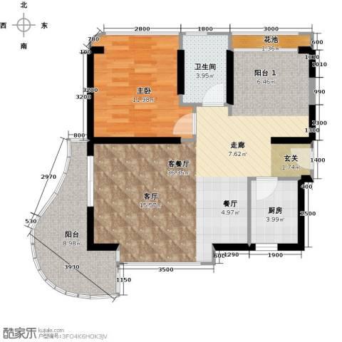 三亚・一山湖1室1厅1卫1厨77.00㎡户型图