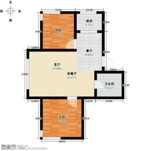 金鼎凤凰城2室1厅1卫1厨72.00㎡户型图
