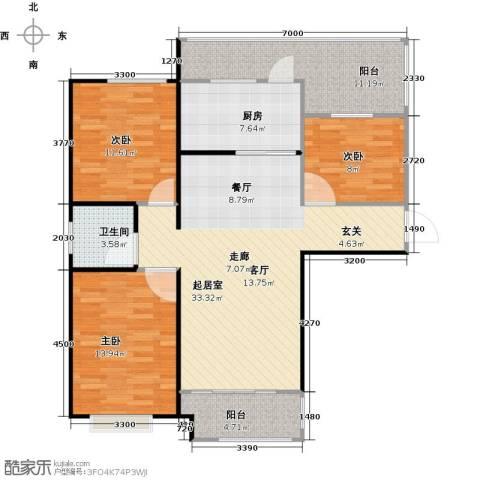 左岸骏景3室0厅1卫1厨127.00㎡户型图