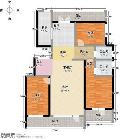 恒景・溪山壹�3室1厅2卫1厨181.00㎡户型图