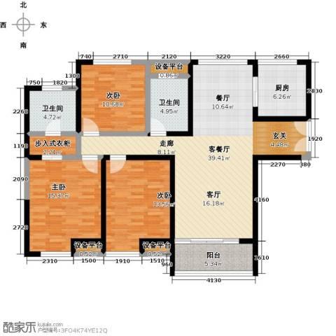 金海名园3室1厅2卫1厨122.00㎡户型图