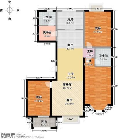 裕华铭珠3室1厅2卫1厨140.00㎡户型图