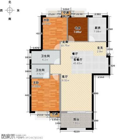 香水郡3室1厅2卫1厨150.00㎡户型图
