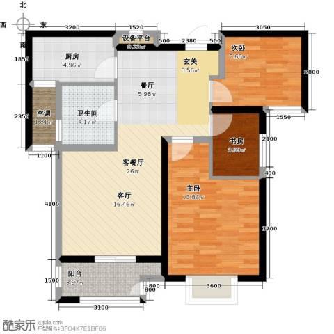 高力金色果缘3室1厅1卫1厨97.00㎡户型图