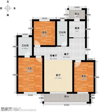 天津未来城3室1厅2卫1厨119.00㎡户型图