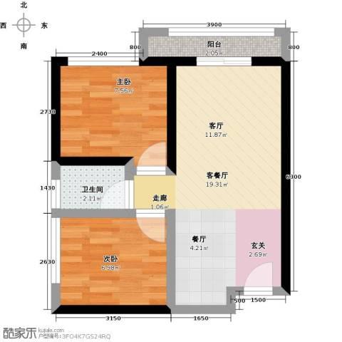 尚城国际2室1厅1卫0厨57.00㎡户型图