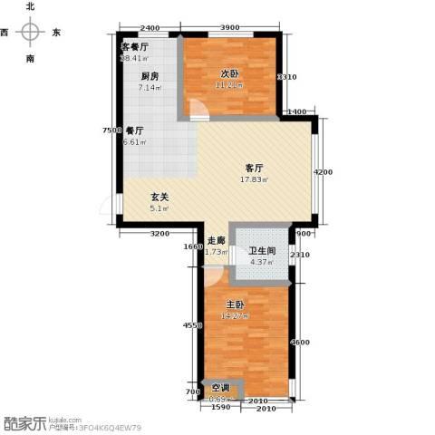 元基首府2室1厅1卫0厨98.00㎡户型图