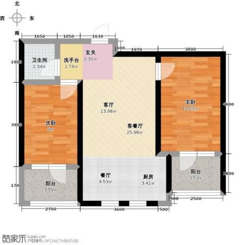 恒景・溪山壹�2室1厅1卫0厨82.00㎡户型图