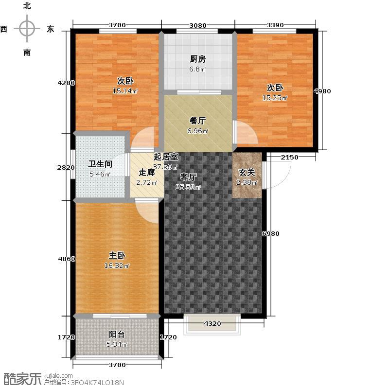 苏堤杭城118.00㎡高层B3户型三室两厅一卫户型3室2厅1卫