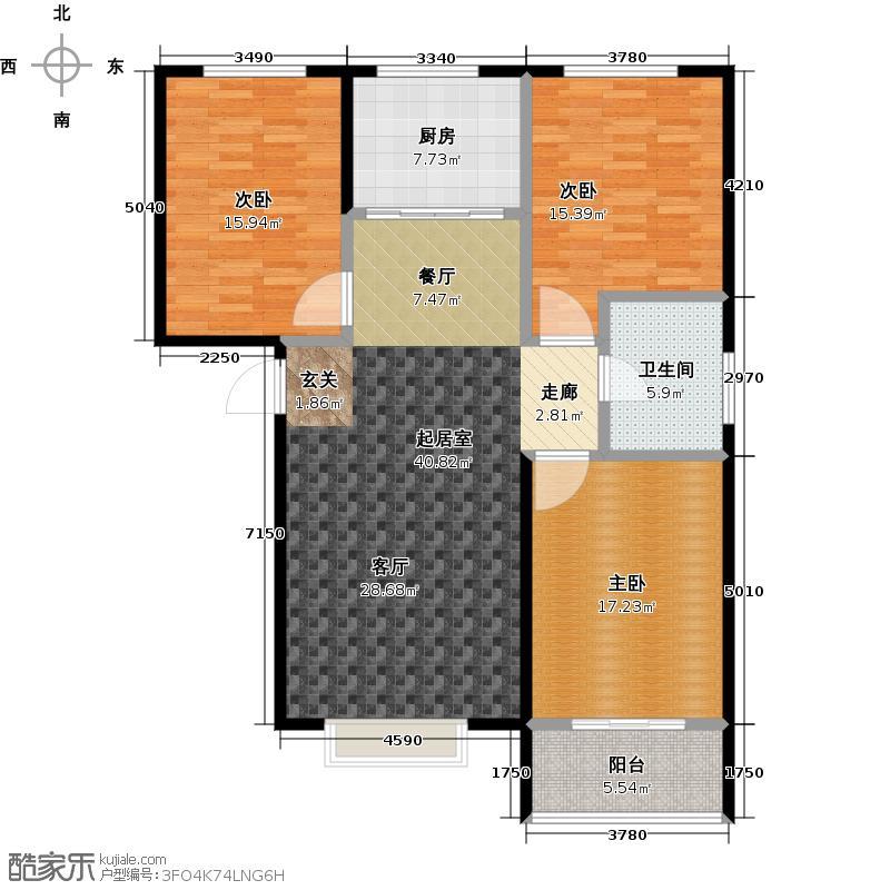 苏堤杭城125.00㎡高层B2户型三室两厅一卫户型3室2厅1卫