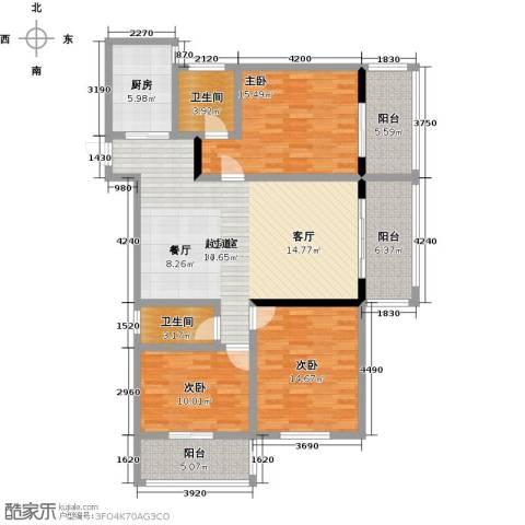 昌泰千秋大厦3室0厅2卫1厨123.00㎡户型图
