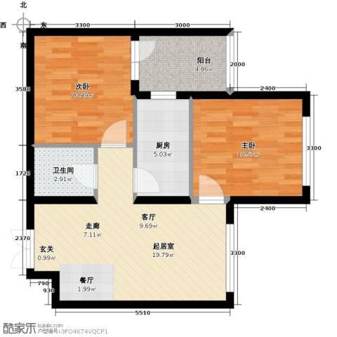 开美国际2室0厅1卫1厨77.00㎡户型图